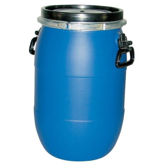 Blå tønne med lokk 60 L